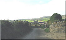 SH1727 : Narrow country lane leading past Aberdaron's 'new' Anglican church by Eric Jones
