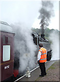 SK0247 : Steam locomotive on the Churnet Valley Railway, Staffordshire by Roger  Kidd