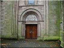 SJ5798 : St Oswald & St Edmund Arrowsmith RC Church, Ashton-in-Makerfield, Doorway by Alexander P Kapp
