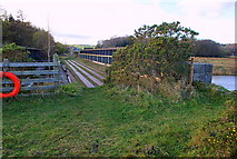 SD3283 : Disused railway bridge over the river Leven by Roger Temple