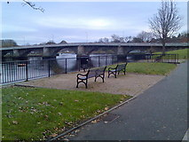 NS3975 : Benches by the River Leven by Stephen Sweeney