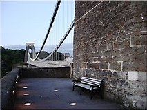 ST5673 : Clifton Suspension  Bridge - bench beneath west tower by Tom Jolliffe