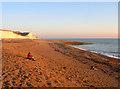 TQ3801 : Basking in the Winter Sun, Saltdean Beach by Simon Carey