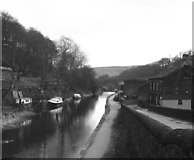 SD9926 : Rochdale Canal: view east from Station Road bridge 16 at Hebden Bridge by Dr Neil Clifton
