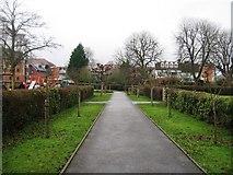 SU7682 : Footpath in gardens by Mill Meadows car park by Sandy B