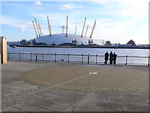 TQ3880 : View across Prime Meridian and River Thames towards Millennium Dome by Nigel Mykura
