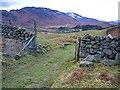 NN7724 : Farm track and gateway in drystane dyke by Dr Richard Murray