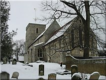 TR3154 : St Mary the virgin in the snow by Nick Smith