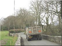 SH3537 : Agricultural merchants' lorry negotiating narrow country road near Pont-y-Gribin Farm by Eric Jones