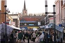 SP0198 : Walsall Market & St Matthew's Church by Derek Bennett