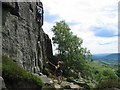 SK2575 : Rock climbing on Curbar Edge by Dave Croker