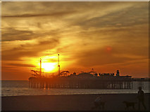 TQ3103 : Brighton Pier, East Sussex, at sunset by Christine Matthews
