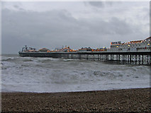 TQ3103 : Brighton Pier, East Sussex, with rough sea by Christine Matthews