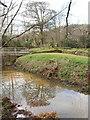 SX2297 : Penhallam Manor moat with bridge by David Hawgood
