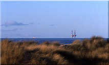 SD2708 : Formby Point and drilling rig by Mike Pennington