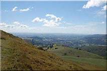 SO2718 : Sugar Loaf summit: view towards Abergavenny by Roger Davies