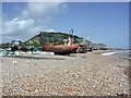 TQ8209 : Fishing Boats and East Cliff Railway by Geoff Harris