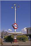 TQ2996 : Art Deco Seat and Station Sign, Oakwood, London N14 by Christine Matthews