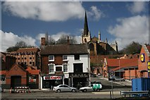 SP0198 : Supercar, fishbar and church by Derek Bennett