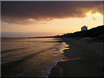 SZ1191 : Sunset from Boscombe Pier towards Bournemouth by Charles Musselwhite