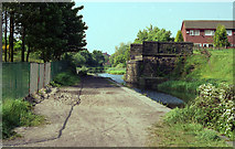 SD7807 : Abutments of old railway bridge, Manchester Bolton and Bury Canal by Dr Neil Clifton