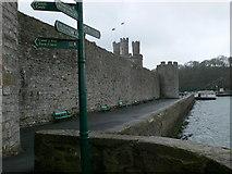 SH4762 : Caernarfon town walls by Eirian Evans