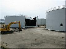 SY6774 : The demolition of Mere tank farm, Portland by Simon Palmer