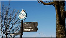 J3474 : Sign, Queen's Quay, Belfast by Albert Bridge
