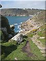 SW4523 : South West Coast Path approaching Lamorna Cove by Pauline E