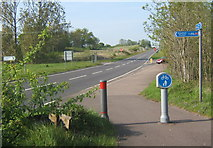 TM1154 : Cycleway, looking up the southbound carriageway of the A140 by Andrew Hill