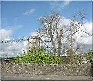 SH5571 : The Gwynedd end of Pont y Borth by Eric Jones