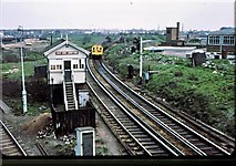 TQ2182 : Old Oak Junction signalbox and surroundings 1977 by Peter Whatley