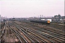 TQ2775 : Clapham Junction - fan of tracks toward London 1979 by Peter Whatley