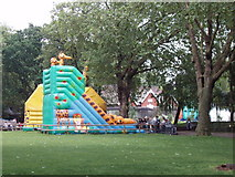 TQ2883 : Bouncy castle with animal decoration at London Zoo by David Hawgood