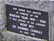 G6331 : Plaque at Marian Shrine by Kenneth  Allen