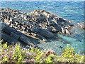 SW7928 : Dip in stratified rocks below Rosemullion Head by Rod Allday