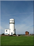 TF6742 : Hunstanton lighthouse and Coastguard Lookout by Evelyn Simak