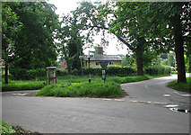 TM0099 : Junction of Attleborough Road with Hingham Road by Evelyn Simak
