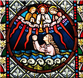 TM0099 : St Peter's church - east window detail by Evelyn Simak