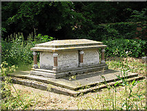 TF9434 : St Mary's church - tomb chest with columns by Evelyn Simak