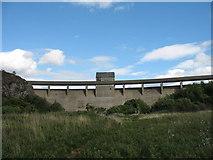 SH6737 : Trawsfynydd lake dam by Peter Humphreys