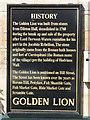 NY9864 : Plaque on the history of the Golden Lion by Mike Quinn