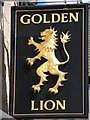 NY9864 : Sign for the Golden Lion by Mike Quinn