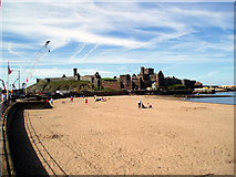 SC2484 : Peel beach, Castle and Cathedral by Dr Neil Clifton