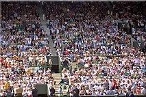 TQ2472 : Centre court people by Steve  Fareham