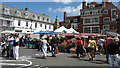 TL5338 : Market Stalls in the Square by Alan Hawkes
