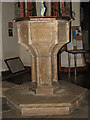 TF8115 : St James' church - C15 baptismal font by Evelyn Simak