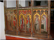 TF9235 : St Giles' church - rood screen detail by Evelyn Simak