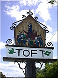 TL3656 : Toft Village Sign (west side) by Keith Edkins