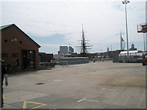SU6200 : Looking across an empty car park within Portsmouth Dockyard to HMS Victory by Basher Eyre